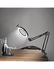 FUUCOK lampa z lupą, lampa na biurko z lupą, 3 kolory, podświetlana lampa z lupą z regulowanym ramieniem obrotowym do odczytu prac naprawczych lub stołów warsztatowych