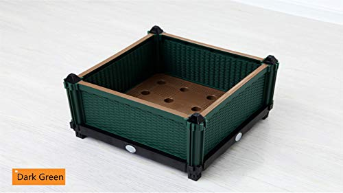 Soclear - Bac a Culture - Pot de Fleurs - Jardiniere en Plastique - Potager - Systeme de Drainage - 40 x 40 x 25 cm - Lot de 1 Vert Fonce