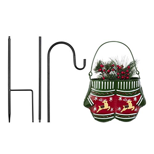 Alpine Corporation Christmas Hanging Metal Mittens Planter with LED Lights Festive Holiday Décor, Multicolor, 6-Inch Tall