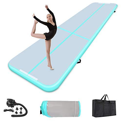 Air Track Gymnastikmatte 20cm hoch Verdicken 3/4/5/6/8M Aufblasbar Gymnastik Tumbling Matte,Trainingsmatte mit Luftpumpe,Gymnastikmatte für zuhause, Outdoor,Yoga (400 * 100 * 20cm, Green)