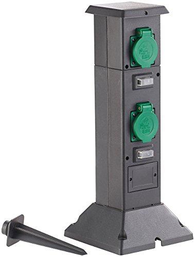 Royal Gardineer Steckdosensäule: 4-fach-Steckdosen-Säule für den Garten, spritzwassergeschützt IP44 (Steckdosensäule Garten)