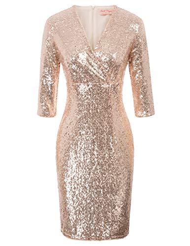 Belle Poque Damenkleider Elegant Festlich Pailletten Kleid Knielang 50er Jahre Kleid M BP926-2