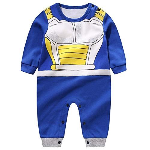 WanXingY Baby-Kleidung Dragon Ball Stil Jungen und Mädchen Kleidung Langarm-Baby-Overall-Baby-Karikatur-Spielanzug (Farbe : Vegeta, Kid Size : 6M)