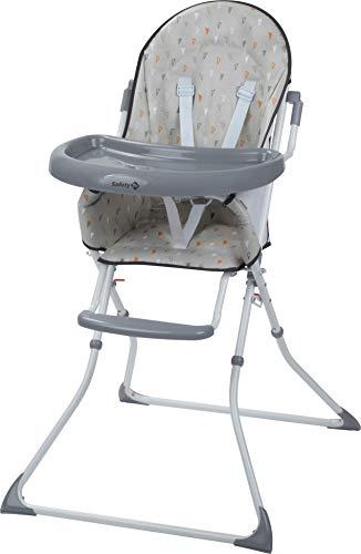 Safety 1st Kanji Seggiolone pappa pieghevole per bambini 6 mesi - 3 anni, con vassoio, imbottitura seggiolone, colore Warm Grey