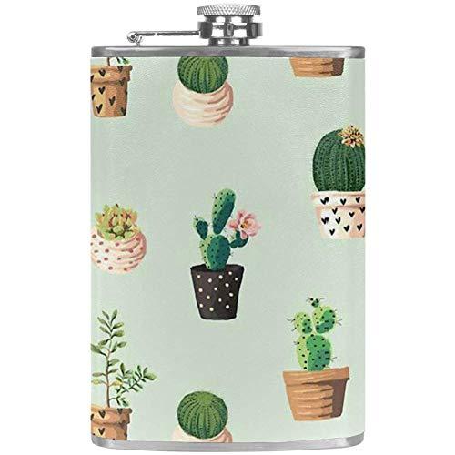 TIZORAX Cactus potplant roestvrij staal heupfles pocket wijn vlakbeker met lederen overtrek voor mannen vrouwen vrouwen 227 ml