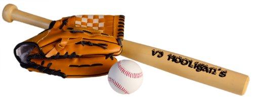 Baseball-Schläger Sport-Schläger 23inch 60cm Set Holz mit Handschuh und Base-Ball V3 HOOLIGANS Ausrüstung Alu-minium America Home-Run Squad Hooligan Base-Ball Selbst-Verteidigung Steel Profi Bat-on Harley