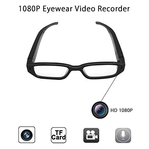 Anviker Volle HD 1080p Minispions-Glas-Kamera Versteckte Kamera,Tragbare Überwachungs-Gläser mit 5Mega Pixels-Eyewear Videorecorder-Kamerarecorder DV Sprachaufnahmegerät+16GB codierte Karte.