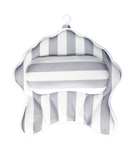 Tuevob Badewannenkissen, Spa-Kissen - Kopf, Nacken, Rückenstütze mit 6 Saugnäpfen und tragbarem Haken für das Badezimmer zu Hause, Pool-Spa, Whirlpool-Badewanne, Strandkorb