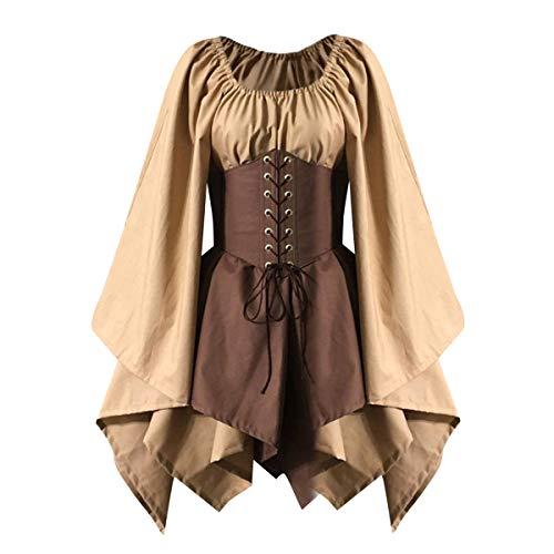 Medieval Costume Women's Renaissance Flare Sleeve Corset Skirt Overskirt Elven Archer Fancy Dress Irish Over Gown 2pcs Set (L, Khaki)