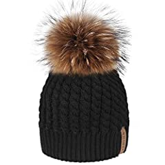 Knit Beanie Hats for Women:New Arrival Stretchy acrylic hat. Fit any size, 16 cm diameter Real Raccoon fur pom pom decoration; Real Fur Pom Pom Hat: Popular and fashion style with fluffy pom pom,fur ball removable for easy cleaning care, replacing th...