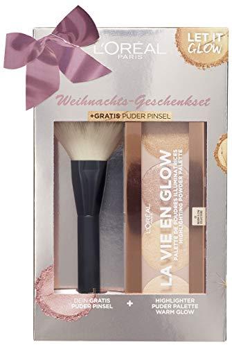 L'Oréal Paris Weihnachtsgeschenkset bestehend aus Highlighter Palette und gratis Puderpinsel, 3er...