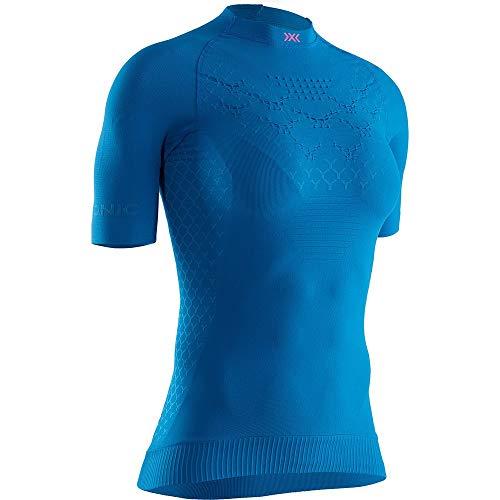 X-Bionic Twyce 4.0 Run Shirt Short Sleeve Women Femme, Teal Blue/Neon Flamingo, FR : M (Taille Fabricant : M)