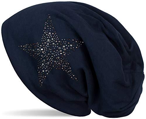 styleBREAKER Damen Beanie Mütze mit Strass Nieten Stern und Schmucksteine Silber-anthrazit, Slouch Longbeanie 04024087, Farbe:Midnight-Blue