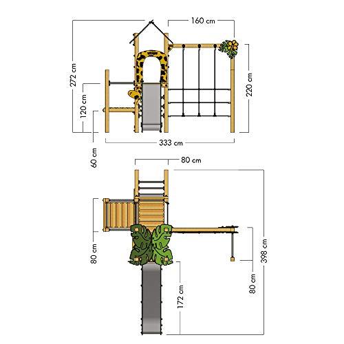 Klettergerüst WICKEY PRO MAGIC Tour+ für den öffentlichen Gebrauch - Entwickelt nach DIN EN 1176 - Kletterturm mit Rutsche für Kindergarten, Schule, Hotel, Restaurant, Ferienpark & Campingplatz - 2