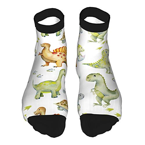 YudoHong Watercolor Cute Dinosaurs Turtles Baby Dino Mid-Calf Compression Athletic Ankle Socks Boy Girl