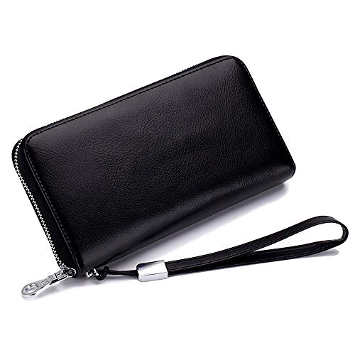 RFID Blocking 12 Credit Card Holder Leather Wallets for Women with Wristlet Zip Around Large Capacity
