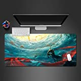 AUYTQ Extended Xxl Gaming Mouse Pad Animated Chinese Mythology Monkey King 90X40 Cm Large Anime Mousepad With Stitched Edges,Non-Slip Rubber Base Waterproof Keyboard Mouse Mat Desk Pad For Work, Game,