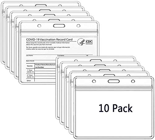 10 Pack Card Protector 4x3 in CDC Immunization Record Vaccine Card Holder 3x4 Horizontal ID Badge Holder,Clear Vinyl Plastic Sleeve Cover Waterproof Resealable Zip for Travel