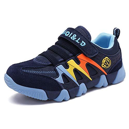 Zapatillas Deportivas para Niños Niña Antideslizante Calzado de Running Correr para Exterior Interior Velcro Ligero Transpirables Trainers Azul Oscuro 28EU=Fabricante:29