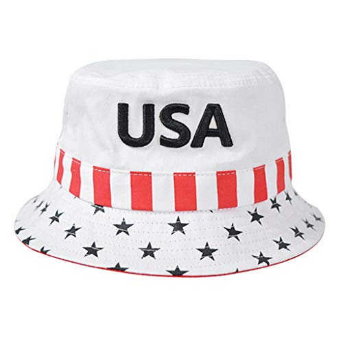 Tangpingsi Men Women Outdoor Sunscreen Cotton Bucket Hat USA Embroidered American Flag Striped Star 2020 President Fisherman Cap