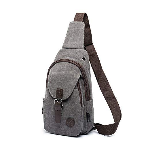 SJAPEX Mochila de Bandolera, Bolso de Pecho Hombro Impermeable Crossbody Bolsa para Hombres Canvas Sling Bag para el Deporte al Aire Gimnasio Viajes Senderismo
