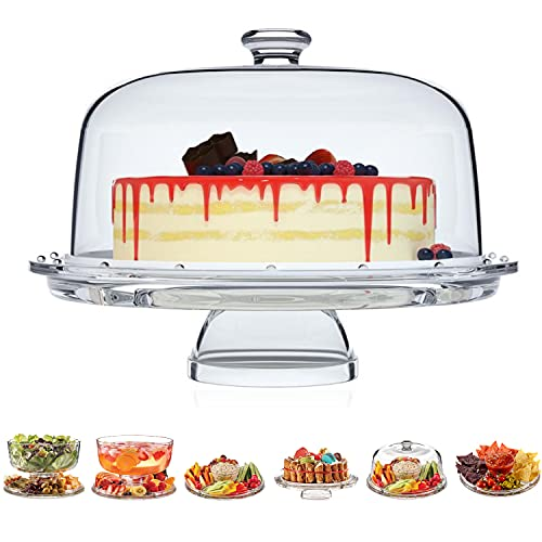 European Cake Stand with Dome (6-in-1 Design) Multifunctional Serving Platter for Kitchens, Dining Rooms, Pedes Glass Durabilitytal or Cover Use, Elegant Product Name