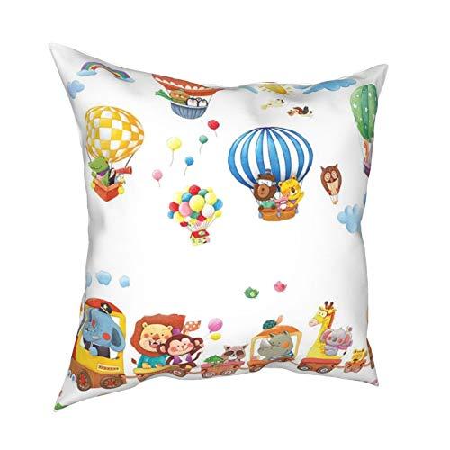 iksrgfvb Pillow Case Cushion Covers Children Cartoon Train Hot Air Balloon Square Pillowcases for Living Room Sofa 18 x 18 inch