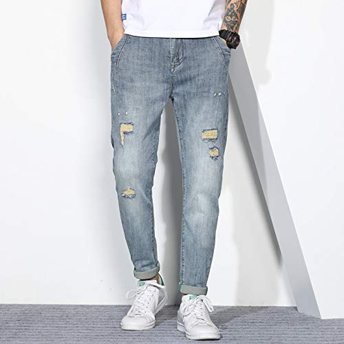 2020 Primavera e Verão Novos Homens Jeans Maré Carne Personalidade Pantsonal Caverna Caverna Adesivos Denim Calças Masculino (Color : 6010 light blue, Size : 28 EU)