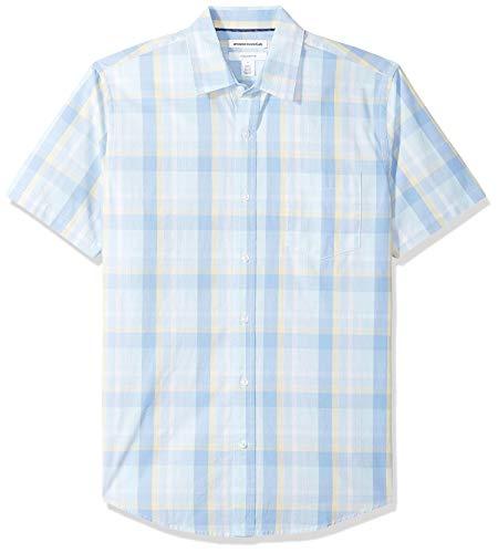 Amazon Essentials – Camisa de popelín de manga corta de corte entallado para hombre, Aqua/Blue Plaid, US L (EU L)