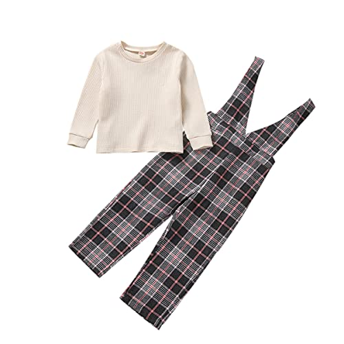 2PCs Toddler Baby Girl Clothes Set Solid Color Long Sleeve T-Shirt Stitching Top Elastic Waist Jumpsuit Sports Long Pants Plaid V-Neck Suspenders Trousers Overalls Outfits (Plaid, 5-6 Years)
