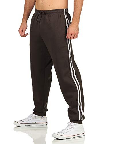 N&Y Herren Trainingshose Sporthose Freizeithose Jogginghose mit Seitenstreifen Sportswear Fitness (Armee, XL)