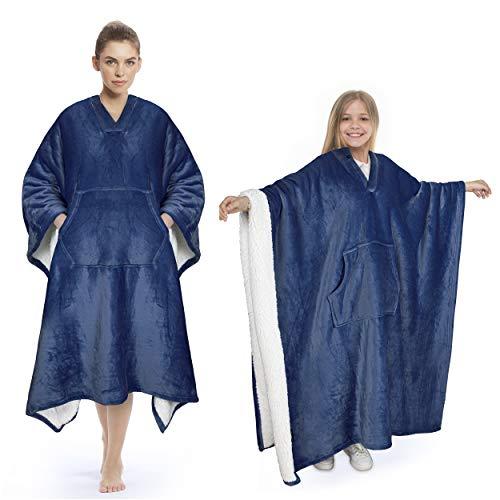 Catalonia Classy Sherpa Poncho Decke Superweiche Bequeme Plüsch tragbare Fleecedecke für Erwachsene Frauen Männer Kinder Wickelhülle drinnen oder draußen, 200 x 140 cm, Marine