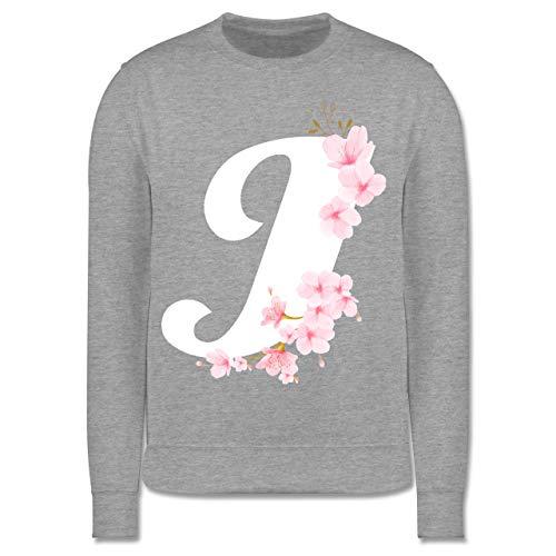Shirtracer Anfangsbuchstaben Kind - Buchstabe J mit Kirschblüten - 152 (12/13 Jahre) - Grau meliert - Alphabet - JH030K - Kinder Pullover