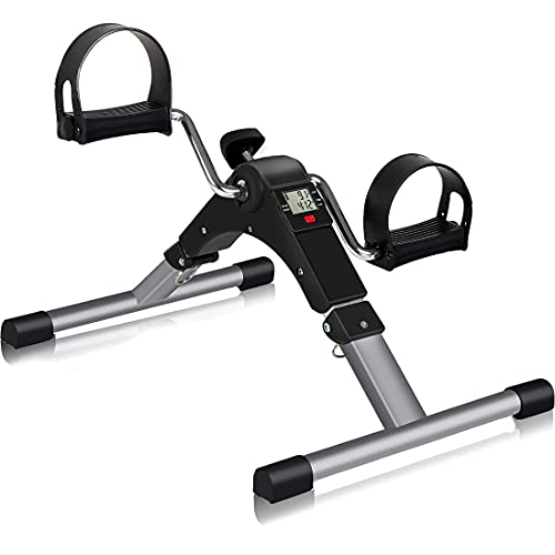 TABEKE Pedal Exerciser, Under Desk Bike Stationary Pedal Exerciser for Arm and Leg Workout, Portable Folding Sitting Desk Cycle