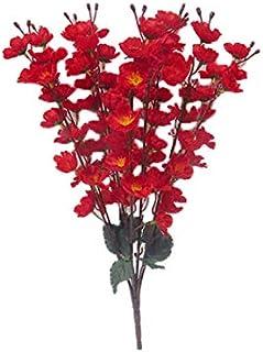 SAF Red Color Peach Blossom Artificial Flower Bunch (56 cm, Red, 7 Sticks)