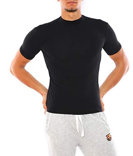 Bombacio Herren T-Shirt mit Stehkragen Shirt Figurbetont aus Baumwolle (Schwarz, L - 50)