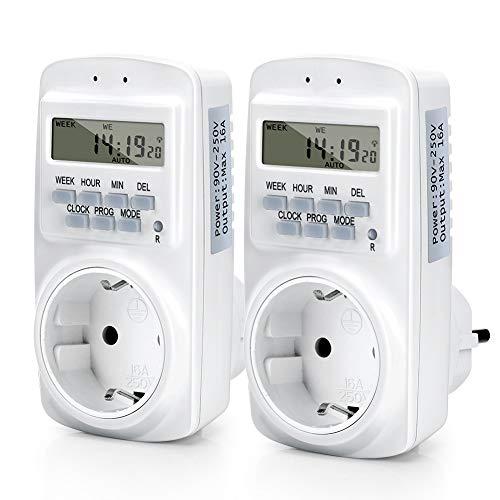 Ymiko Temporizador de Salida programable Digital Inteligente de 12 V, Temporizador de Control eléctrico para Luces, Ventiladores, Motores, Temporizador de Pared para electrodomésticos
