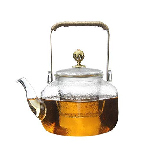 MYERZI Kettle Drinkware High Heat Resistant Borosilicate 700Ml Teapot Clear Glass Heat Resistant Square Shape Hammer Pattern Pure Copper Teapot Handle Classic And Durable Simple Style Family Tea House