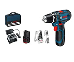 Bosch Professional 12V System Cordless Screwdriver GSR 12V-15 (incl. 2x2.0 batterij + lader, 39pcs accessoire set, in geval) – Amazon Edition*