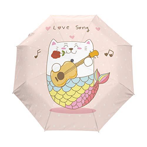 Katze Meerjungfrau Gitarre Liebeslied Regenschirm Auf-Zu Automatik UV-Schutz Taschenschirm Winddichter Umbrella Klein Leicht Schirm Kompakt Schirme für Jungen Mädchen Reise Strand Frauen