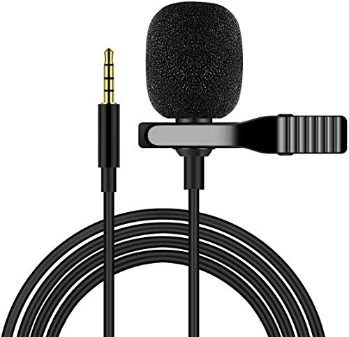 Wired Lavalier Lapel Microphone for iPhone Android Smartphone Omnidirectional Mic for Recording with Clip-on for Bloggers and Vloggers