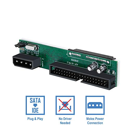 Kingwin SSD/SATA to IDE Bridge Board Adapter, Convert All SATA Devices Easily to IDE.  Support 2.5 Inch, 3.5 Inch HDD, & Compatible w/ SATA I/II/III Hard Drives