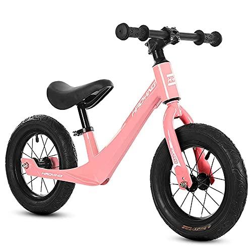 XGYUII Bicicleta ligera de aleación de magnesio para niños sin pedal adecuada para niños de 2 a 6 años de edad andador de entrenamiento de equilibrio de bicicleta (rueda giratoria), color negro y rosa