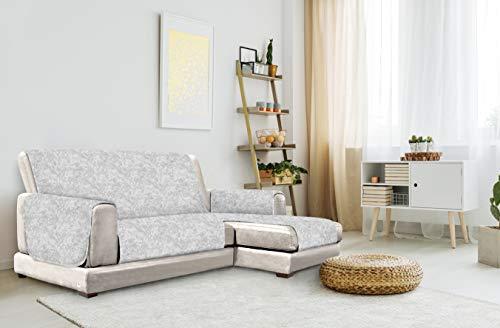 "Italian Bed Linen ""Glamour"" Anti-Deslizamiento Funda para sofà con Chaise-Longue Derecha, Gris Claro, 240cm"