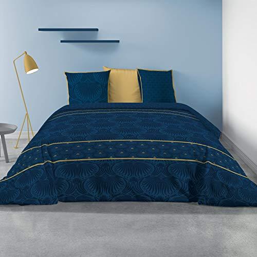 Les Ateliers du Linge - Parure Palace pour lit Double – Housse de Couette réversible 240x220 cm et 2 taies d'oreiller 63x63 cm - 100% Coton Premium 57 Fils – Style Luxueux