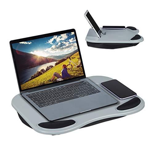 Relaxdays Cuscino per PC, Supporto Ergonomico per Laptop, Letto e Divano, per Tablet 11 Pollici, 6 x 44 x 32 cm, Grigio, plastica, Poliestere, gommapiuma, 1 pz