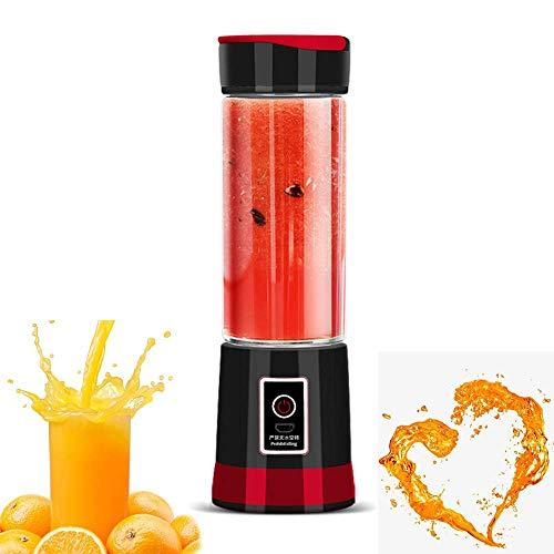 ZGYQGOO Tragbarer Mixer, Smoothie Juicer Cup - Sechs Klingen in 3D, 14oz Obstmischmaschine Abnehmbarer Becher mit Spiegel, Perfekter Mixer fuumlr den persoumlnlichen Gebrauch