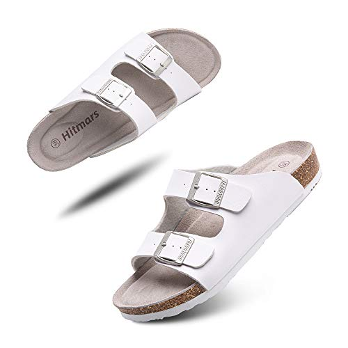 Sandalias Mujer Hombre Planas Zapatillas Verano Chanclas Con Hebilla Mules Zapatos Soporte Del Arco Comodas Blanco Talla 36 EU
