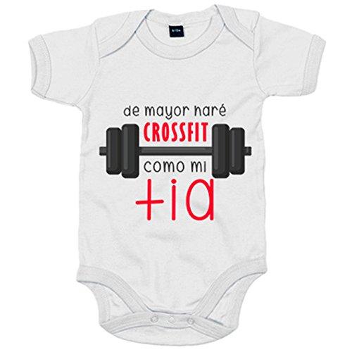 Body bebé De mayor haré Crossfit como mi tía - Blanco, Talla única 12 meses