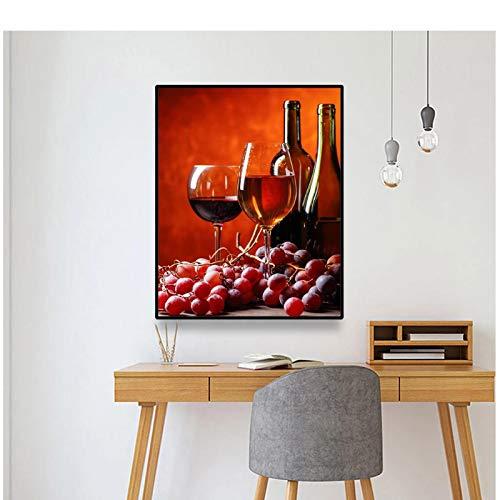WEUEWQ póster Cocina Vino Tinto Lienzo Pintura caligrafía Carteles e Impresiones Cuadro de Arte de Pared para Restaurante Comedor decoración -50x70cmx1 sin Marco
